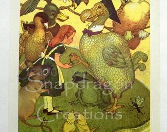 Vintage Alice in Wonderland Illustration, Alice and the Dodo, Margorie Torrey, 1960's, Dandelion Library, Frameable Print