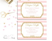 Baby Shower Diaper Raffle Ticket, Baby Shower Insert Cards, Pink and Gold Diaper Raffle, Girls Baby Shower Games, Baby Girl, Sip and See