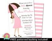 Baby Girl Shower Invitation - Baby Shower Invitations - Pink and Brown Baby Shower - Girl Baby Shower Invite - Printable Baby Shower Invites