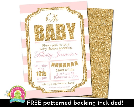 pink and gold baby shower invitation girls glitter baby shower
