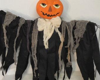 Halloween Pumpkin Art Doll, pumpkin centerpiece, scary, gothic decoration, Halloween centerpiece