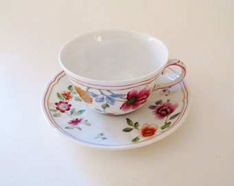 Richard Ginori Teacup, Italian Teacup and Saucer, Floral Cup and Saucer, Chinoiserie