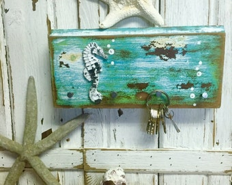 Key Holder Hook Rack Seahorse Turquoise Green Art Block Wall Decor by CastawaysHall- Ready to Ship