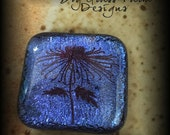 Jewelry Supplies / Fused Glass / Dichroic Glass Cabochon / Blue with Flower Accent