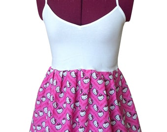 Hello Kitty Chevron Tank Top (xs, s, m, l, xl) peplum top, ladies tank top, cat lover gift, upcycled womens clothing, pink and white shirt