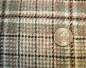 Vintage wool plaid  taupe ,brown, cream and green 2 yards