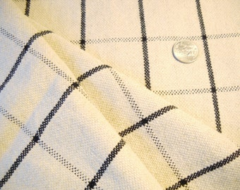 Beige and black  plaid  check decorator  upholstery  fabric 1 yard