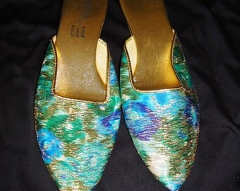 Metallic Blue Floral Pointy Toe Vintage 1960's Women's Wedge Heel Slip On Slippers Shoes 8