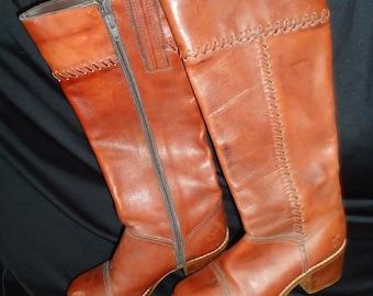 SALE Tall Cognac Leather Vintage 1970's Women's BOHO Boots 7