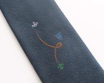 Vintage 50's Tie Necktie in Dusty Blue and Gold Fabric with Embroidered Flourish Design