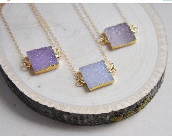 SALE Druzy Necklace, Druzy Jewelry, Druzy, Druzy 14k gold filled, Gold Druzy Necklace, Square Necklace, Geometric Necklace, Small Druzy Neck