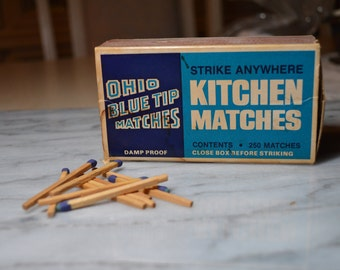 Ohio Blue Tip Matches ~ Empty Box ~ Great Vintage Box for Kitchen Display