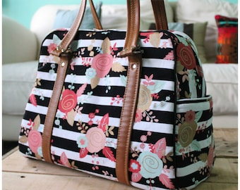 Vivan bag - DIAPER BAG - weekender bag - on the go bag - floral diaper bag - stripe diaper bag
