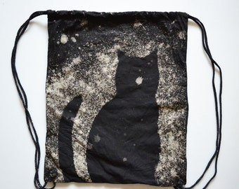 Black Cat Drawstring Backpack, Drawstring Purse, Cotton Canvas Backpack Tote, Cat Packpack, Hand Dyed Tote, Halloween Tote