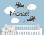 Name Monogram Wall Decal - Name with aeroplane wall decal. Custom name monogram wall decals for nursery.