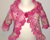 Toddler Sweater, Girls Pink Roses Sweater, Toddler Girls Granny Sweater