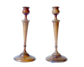 Antique Pair Turned Wood Candlesticks ... Colonial, Pecan Wooden Candle Holders, Treenware, Tall, Solid Wood, Medium Brown, Mahogany