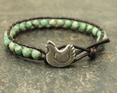 Chicken Jewelry Country Boho Silver Off White Turquoise Chicken Bracelet Single Leather Wrap Bracelet