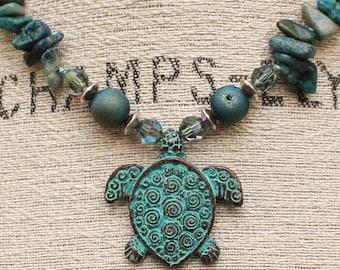 Bohemian Turtle Jewelry Blue Green Turquoise Turtle Necklace Semi Precious Morganite Malachite Knotted Necklace Unique Animal Jewelry
