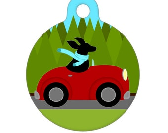 Pet ID Tag - Black Dog Driving in the Country Pet Tag, Dog Tag, Cat Tag, Luggage Tag, Child Id Tag