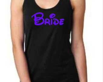 Disney Bride Bright Purple on Black Flowy Scrunched Pleated Back Racerback Tank Top Wedding Bridal Shower Bachelorette Party Shirt