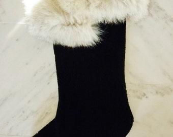 Large black velvet Christmas Stocking with genuine fur cuff