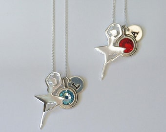 Sterling Silver Ballerina Necklace, Birthstone Necklace, Ballet Dancer Necklace, Birthday Gift, Children's Jewelry, Kids Jewelry, Girls Gift