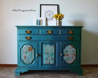SALE !! Winter Clearance!! Ombre' Vintage Buffet in Turquoise to Emerald