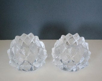 Pair of Vintage Orrefors Sweden Glass Nimbus Votive Candle Holders Signed