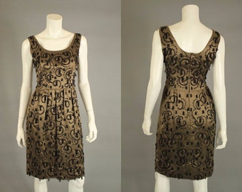 50s Dress - Ornate Beaded Wiggle Dress - Vintage 1950s Party Dress S