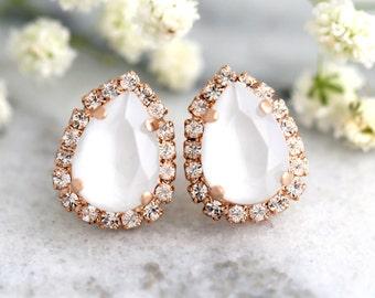 Gray earrings, Bridal Gray Earrings, Bridesmaids Gray Earrings, Rose Gold Crystal Earrings, Swarovski Bridal Earrings, Gray Powder Earrings