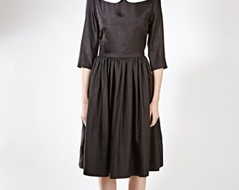 Black party dress Peter Pan collar dresses Black evening dress Silk evening gown Womens dresses Ladies  Made to order dress