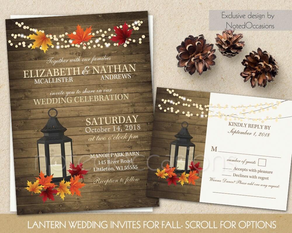 Fall Wedding Invitation Wording: Rustic Fall Wedding Invitations Set Metal By NotedOccasions