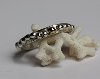 14k Gold and Sterling Silver Granulated Ring Rustic and Organic
