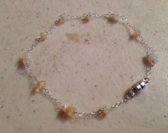 Opal Bracelet - Ethiopian Opal Jewelry  - Sterling Silver Jewellery - Iridescent Gemstone - Luxe - Chic