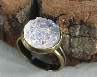 Light lavender Druzy ring