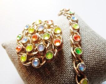 Vintage SARAH COVENTRY Moon-Lites Demi Parure, Multi Colored Brooch and Bracelet Set,