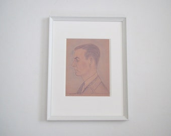 Vintage portrait man/ drawing/ archival print/ framed portrait/wall decor