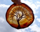Copper Wire Tree Of Life Metal Art Sculpture On A Yellow Brown Agate Stone Crystal Suncatcher