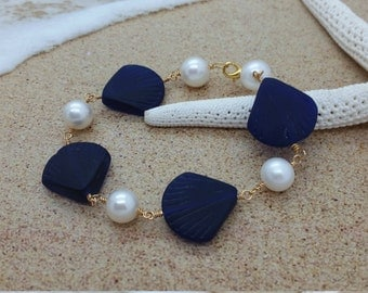 Cobalt Sea Glass Bracelet, Sea Glass Jewelry Beach Glass Jewelry Seaglass Jewelry Beach Glass Bracelet Wedding Jewelry Bridal Bridesmaid 029