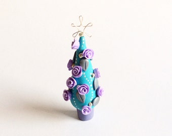 Miniature Christmas tree with lilac roses and silver leaves handmade from polymer clay