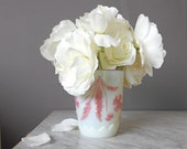Antique Milk Glass Tumbler EAPG Pink over Opaque White Collectible Cottage Home Wedding Decor Vase