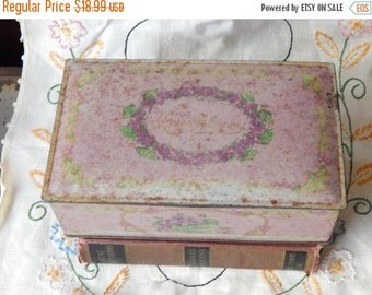 fall sale 2016 Antique decorative Tin LOUIS SHERRY Box Lilac canister hinged~kitchen~victorian~shabby chic~storage~jewelry