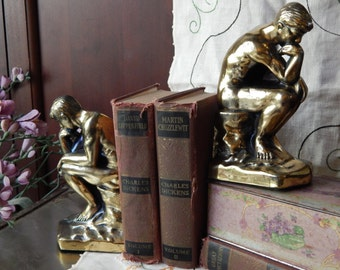 1928 ART DECO ----Vintage Brass--Bronze Mint-- The Thinking Man BOOKENDS ----Fabulous hallmarked 1928