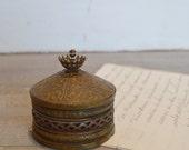 Vintage Brass Filigree Trinket Box - French Inspired