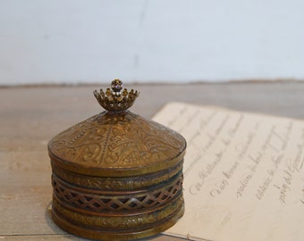 Vintage Brass Filigree Trinket Box - French Inspired