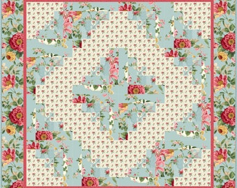 Monet Log Cabin Quilt ePattern, 2186-2, wall quilt pattern, floral quilt pattern, floral quilt, log cabin quilt, floral table quilt