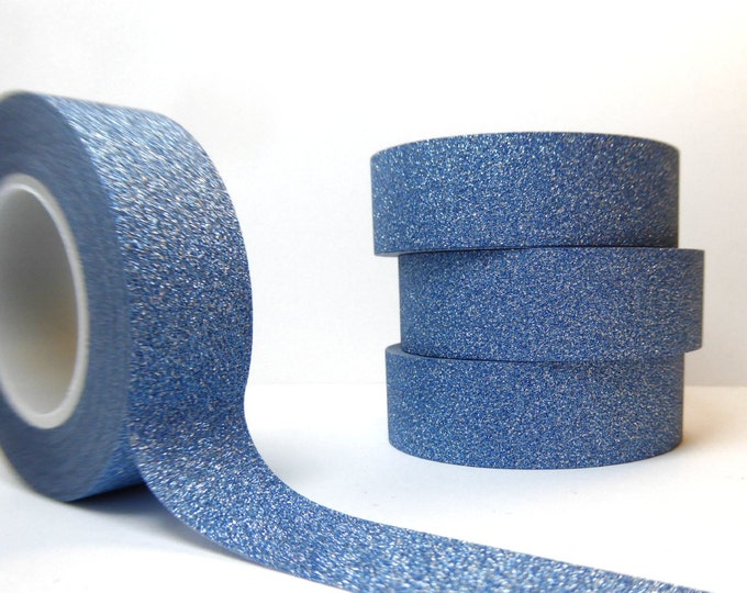 Glitter Washi Tape in Light Blue- Paper Tape Great for Scrapbooking Paper Crafts and Hanukkah Decorations and Winter Crafts  15mm x 10m