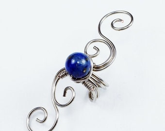 Summer Sale - 10% off - Ear Cuff - Silver and Lapis Swirly Cuff