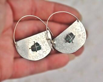 Earrings. Silver Earrings. Half Moon Hoop Earrings. Silver Sheet. Crescent Earrings with Raw Turquoise Stones. Stone Earrings. Free Shipping